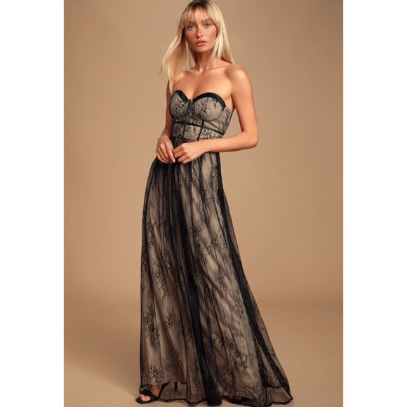 Lulu's Dresses & Skirts - Lulu's black lace bustier strapless maxi dress L